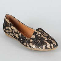 Leila-05 Floral Lace Loafer Flat
