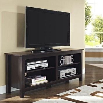 "TV Stand Home Furniture Storage Console 58"" Wood  Espresso Modern Durable Rack"