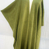 Olive green fringe women ponchos,  plus size clothing, green kimono cardigan, gift for women gift, best selling item, PiYOYO