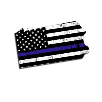 Pennsylvania Distressed Subdued US Flag Thin Blue Line/Thin Red Line/Thin Green Line Sticker. Support Police/Firefighters/Military
