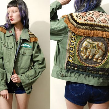 Vintage ELEPHANT Jacket MILITARY Khaki Fringe Sequin Patch Patches Matador Embroidered Handmade ooak Grunge Hippie Bohemian Gypsy xs s m