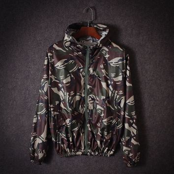 """AAPE""Men Women Couple Camouflage Multicolor Pattern Long Sleeve Hoodie Sweatshirt Thin Coat Cardigan"