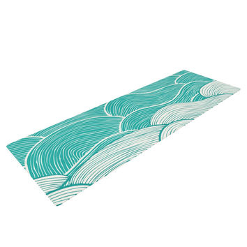"Pom Graphic Design ""The Calm and Stormy Seas"" Green Teal Yoga Mat"