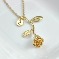 Personalized Rose Pendant Necklace