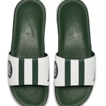 NIKE BENASSI SOLARSOFT NEW YORK JETS NFL SZ 7-11 SANDALS SLIPPERS SLIDES GREEN