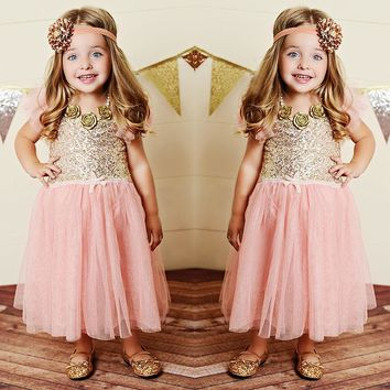 2017 New arrived summer elegant grils blingbling princess dress beautiful birthday party dress DS8