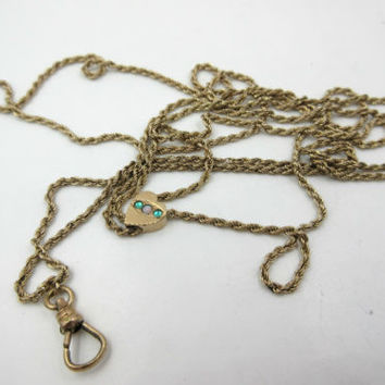 """Victorian Gold Filled Pocket Watch Fob Chain with Opal Slider 26"""""""