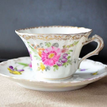 Dresden Porcelain / Cup and Saucer / Richard Klemm / Berlin / Antique Porcelain Cup