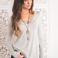 Kalli X Chest Top (Heather Grey)