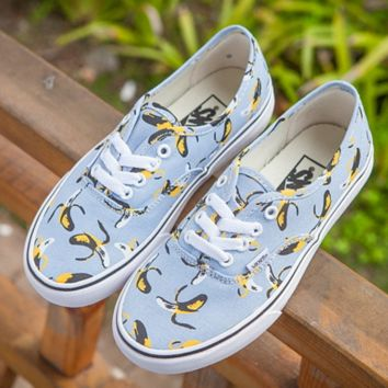 Vans new fashion men and women shoes banana print low help canvas shoes Blue
