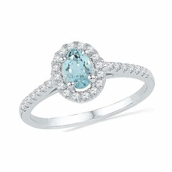 10kt White Gold Womens Oval Aquamarine Diamond-accent Solitaire Ring 1-5 Cttw - FREE Shipping (US/CAN)