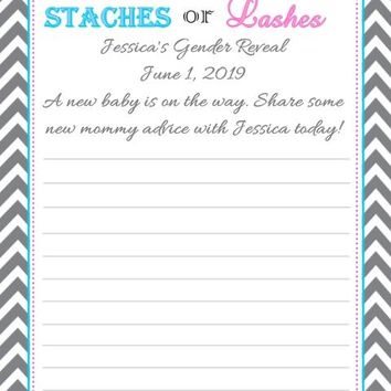 10 Gender Reveal Baby Shower Advice Cards Stache or Lash