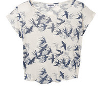 Teens White Swallow Print T-Shirt