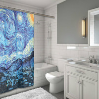 """MoMa Collection for Art Lovers The Starry Night Design Fabric Shower Curtain Size: 70"""" x 72"""""""