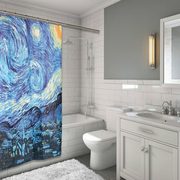 "MoMa Collection for Art Lovers The Starry Night Design Fabric Shower Curtain Size: 70"" x 72"""
