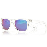 River Island MensWhite colored lens retro sunglasses