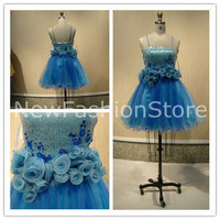 New Fashion A Line Sleeveless Beading Appliques Short Mini Prom Party Dress