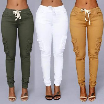 Candy colored skinny fit soft cargo pants ~ Plus size available