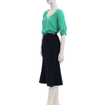 Solid Color Belted Knee Length Midi Skirts Size M-3XL AV4268