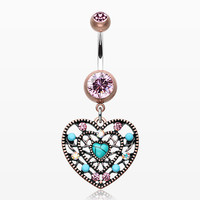 Vintage Boho Filigree Turquoise Heart Belly Button Ring