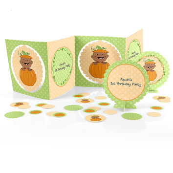 Little Pumpkin African American - Birthday Party Table Decorating Kit
