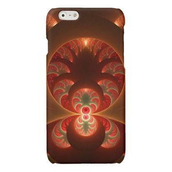 Luminous abstract modern orange red Fractal Glossy iPhone 6 Case