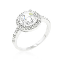 Halo Style Faceted Engagement Ring, size : 05