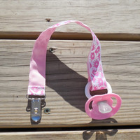 Pacifier Holder, Pink Crowns  Ribbon Pacifier Holder or Clip, Baby Girl Pacifier Holder, Binky Clip, Pink Crowns Toy Clip