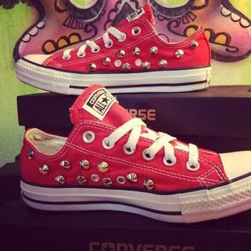 custom studded red converse all stars chuck taylors all sizes colors