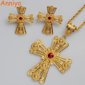 Anniyo New Ethiopian Cross Jewelry sets,RED/BLUE/GREEN STONE Habesha Wedding Eritrea style/African Crosses Model #063706