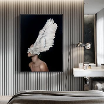 Original Nude Oil Painting on Canva girl With Feather extra Large Nordic Wall Art Pictures for living room cuadros abstractos decor