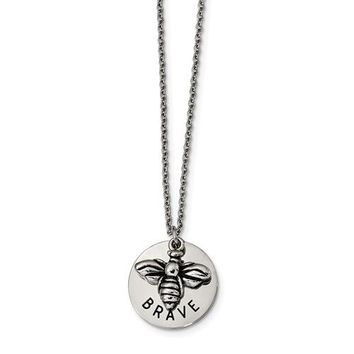 Stainless Steel Bumble Bee Brave Necklace