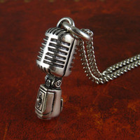 Rockabilly Necklace Microphone Antique Silver by LostApostle