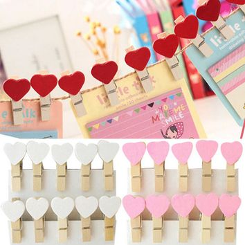 20Pcs Colored Mini Love Heart Wooden Clothespin Office Supplies Craft Clips DIY Clothes Paper Peg Clothespin 3.5x0.7cm