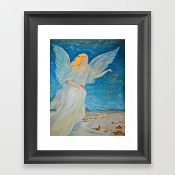 Bless me   Guardian Angels are Here   Angel of Abundance   Love Framed Art Print by Azima