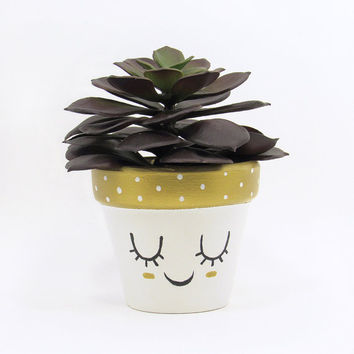 Succulent Pot, Succulent Planter, Cute Face Planter, Air Plant Holder, Plant Pot, Flower Pot, Indoor Planter, Small Kawaii Planter, Gold
