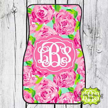 Car Mats Chevron Personalized Monogrammed Floor Car Mat Initial Rose Pink Roses Preppy