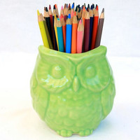 Owl Vase in Stoneware with Lime Green Glaze