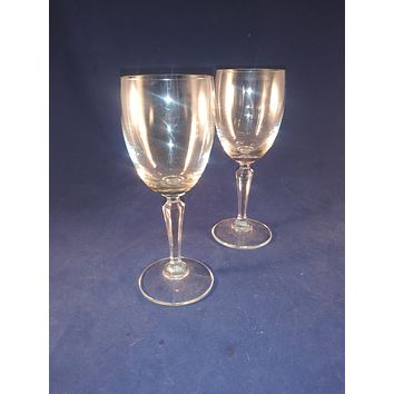 Crystal Wine Glasses Faceted Stem  S/2