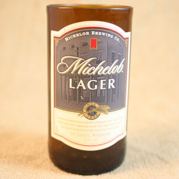 Drinking Glasses from Recycled Michelob Lager Beer Bottles, 8 oz, Unique Barware, Unique Gift, ONE glass