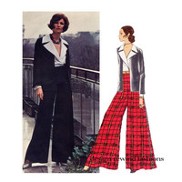 70s YVES SAINT LAURENT Evening Jacket Pattern Wide Leg Palazzo Pants Sexy Blouse Vogue 2389 Paris Original Size 12 Womens Sewing Patterns