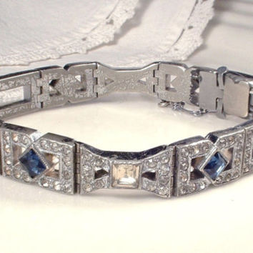 Original 1920s Art Deco Sapphire Blue & Clear Pave Rhinestone Link Bracelet, Antique Flapper Jewelry Vintage Gatsby Edwardian Downton Abbey