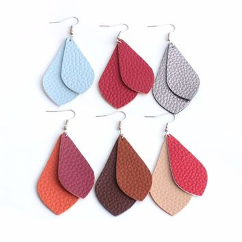 Shellhard Boho PU Leather Teardrop Dangle Statement Earrings For Fashion Trendy Jewelry Simple Geometric Double Layer Earrings