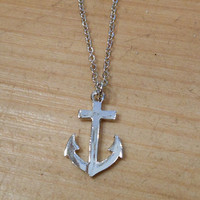 Tiny Silver Anchor Necklace | Candy's Cottage