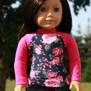 18 inch doll clothes, pink and navy floral print shirt, dark wash ripped denim skinny jeans, american girl ,maplelea