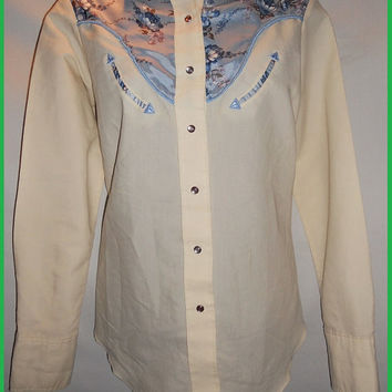 Vintage 70s 80s Miss Rodeo America Floral Polyester Cowgirl Shirt Snab Button Long Sleeve Blue and Cream Prairy Girl Texas Horseback Riding