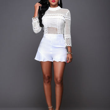 White Crocheted Long Sleeve Playsuit