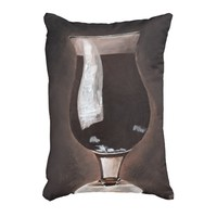 Dark Beer in Tulip Glass Porter Stout Painting Art Accent Pillow