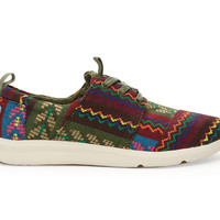 TOMS Red Green Woven Cultural Women's Del Rey Sneakers Red