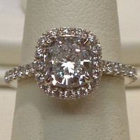 Big cushion diamond 5 carat halo setting ring solid white gold 18K new